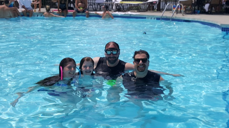 Swimming with our niece and nephew