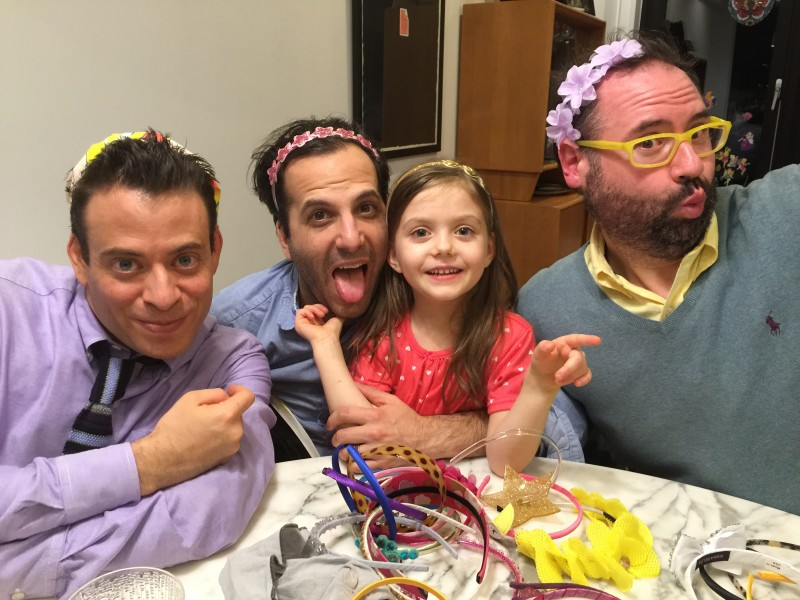 Trying on some headbands with  my two childhood  best friends Scott & Barry and Scott's daughter.