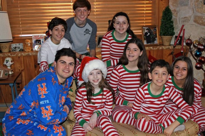The nieces and nephew on Christmas Morning in jammies.