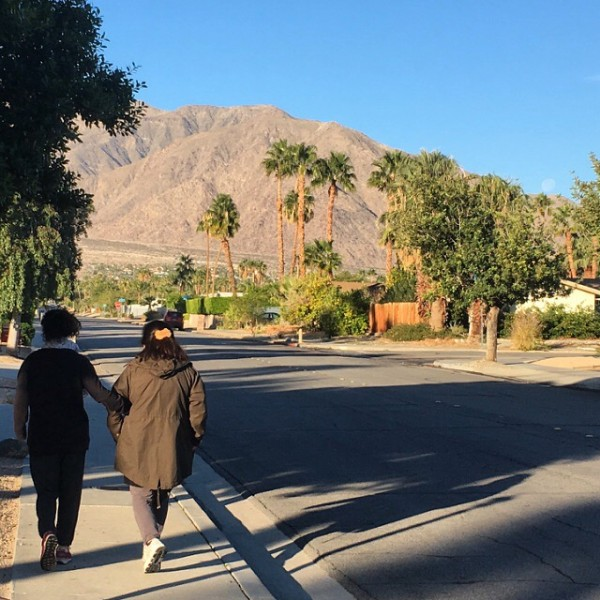 K taking a walk with her Mom in Palm Springs on Christmas Eve morning.