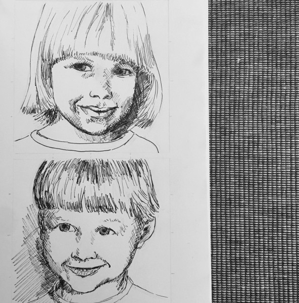 Alan made this drawing of him & his sister as kids as one gift for the parents this Xmas.