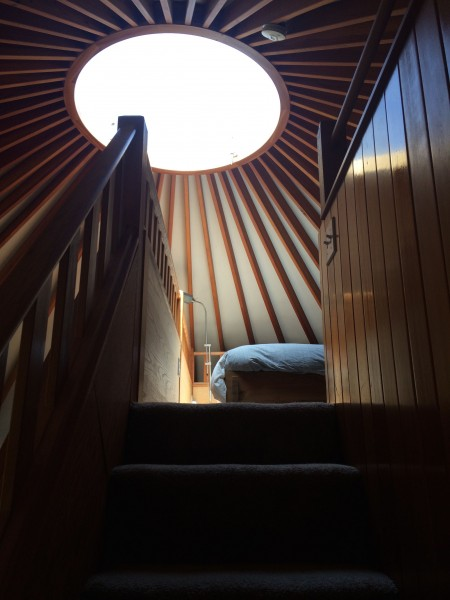 The loft bedroom in our guest yurt where we have been hosting a visiting curator from the UK this week