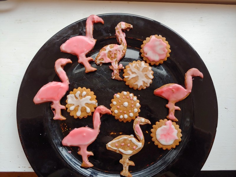 Decorating gingerbread cookies (flamingos are my dad's favorite bird!)