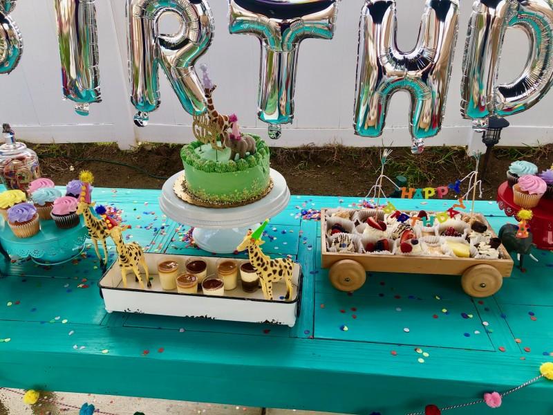Birthday cake and treats.