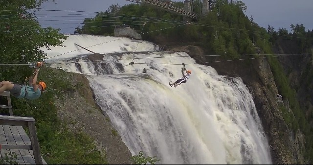 Zip lining in Quebec City