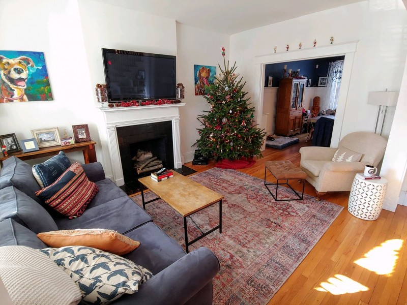 Family room at christmas