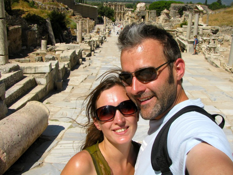 At Ephesus in Turkey on our honeymoon
