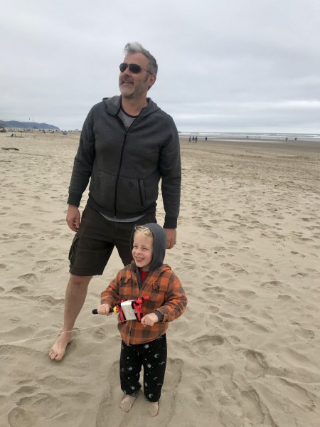 Reed and Odin at Cannon Beach, OR
