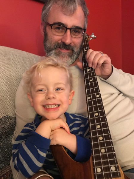 Playing with dad's handmade bass