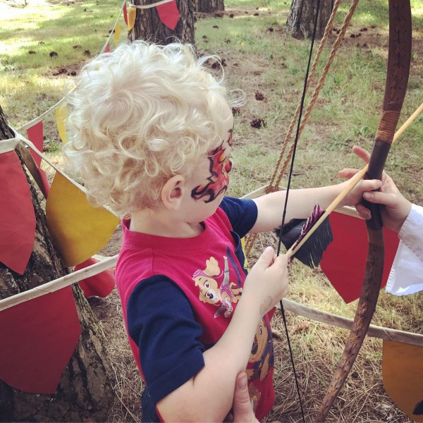 Odin's first archery attempt at the Ren Faire