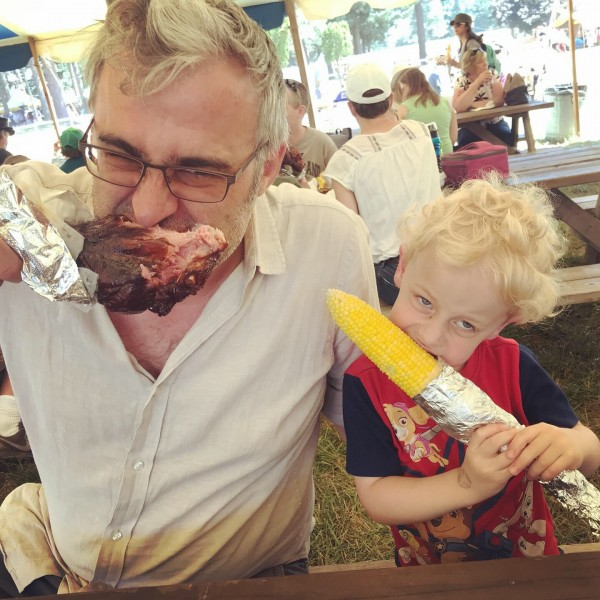 Traditional turkey leg and corn for the vegetarian at the Ren Faire