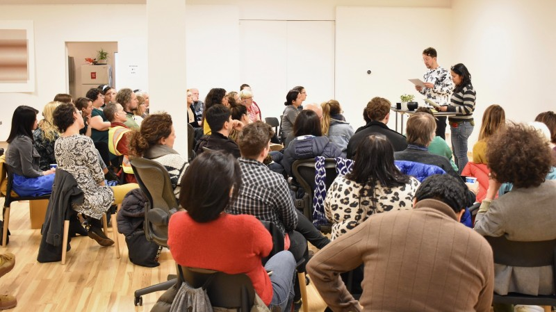 Beautiful words, beautiful people at a gorgeous poetry reading (in English/Spanish) last night in our space.