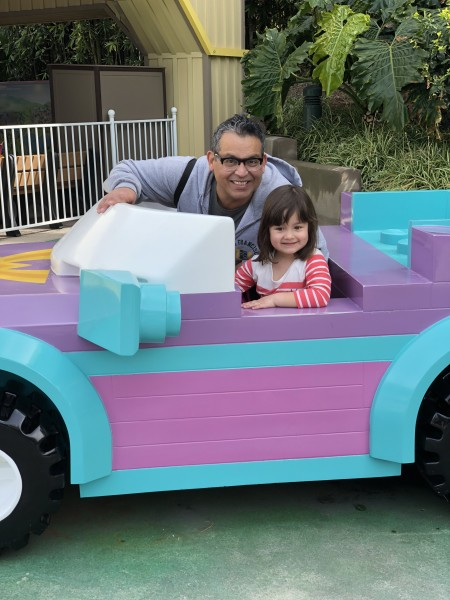 Legoland fun with Daddy. Learning to drive on a lego car seems pretty safe!