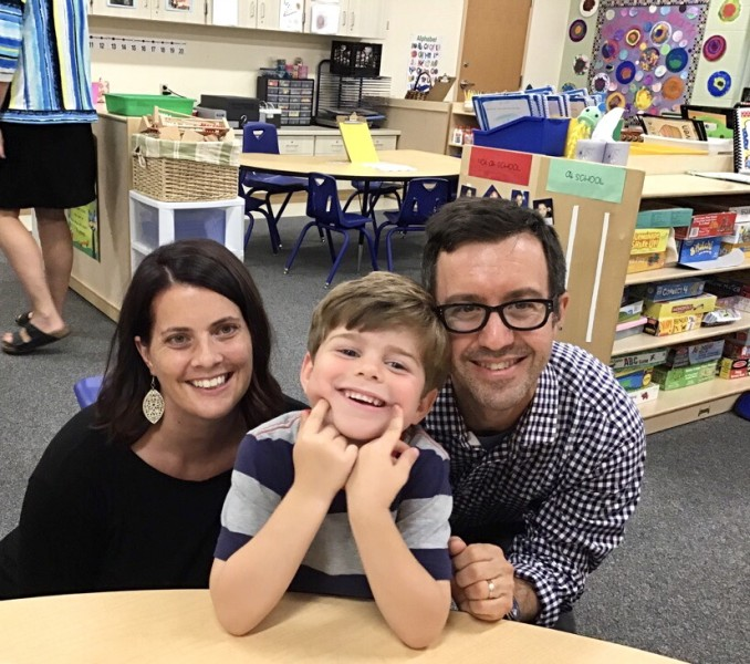 "Our family at ""Curriculum Night"" at Eliot's school"