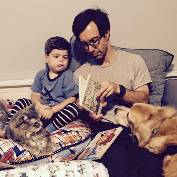 Drew reading to Eliot and Berkeley