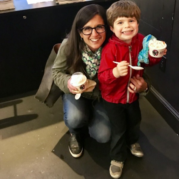 Eliot enjoying ice cream with Aunt Lisa