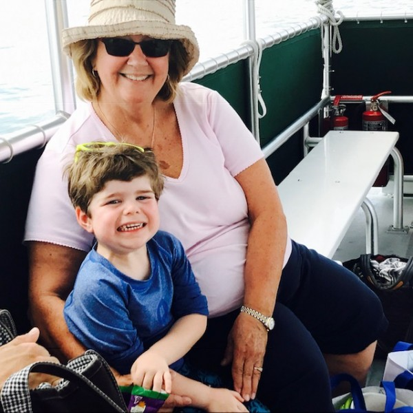 Eliot and Nana enjoying a boat ride in Florida