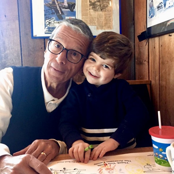 Eliot with Papa at a diner