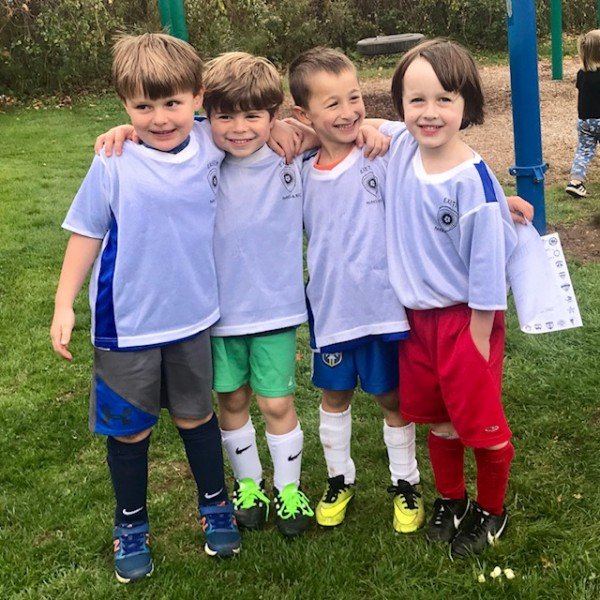 Eliot with soccer buddies