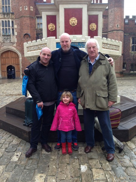 Charlie with his Dad, brother Al, and his niece in England