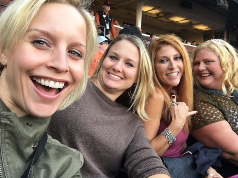 Danielle with her cousins at a Giants game