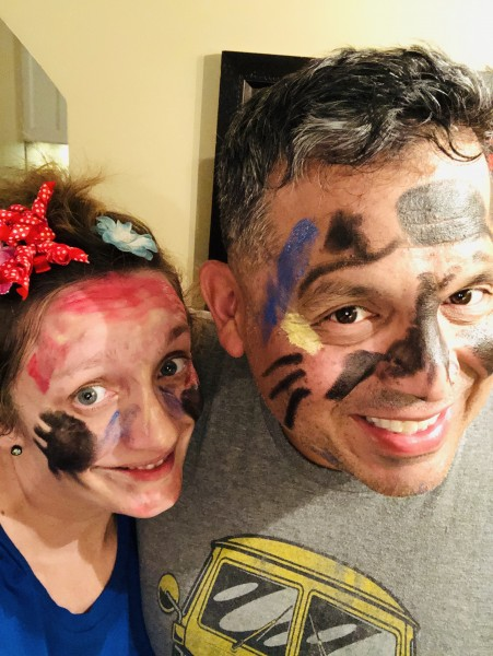 Sunday night face painting by Luna. Two kitty cats!
