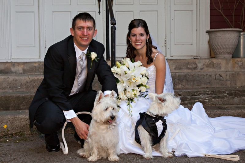 Our wedding- yes our dogs were in it!