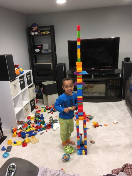 Building towers in the morning