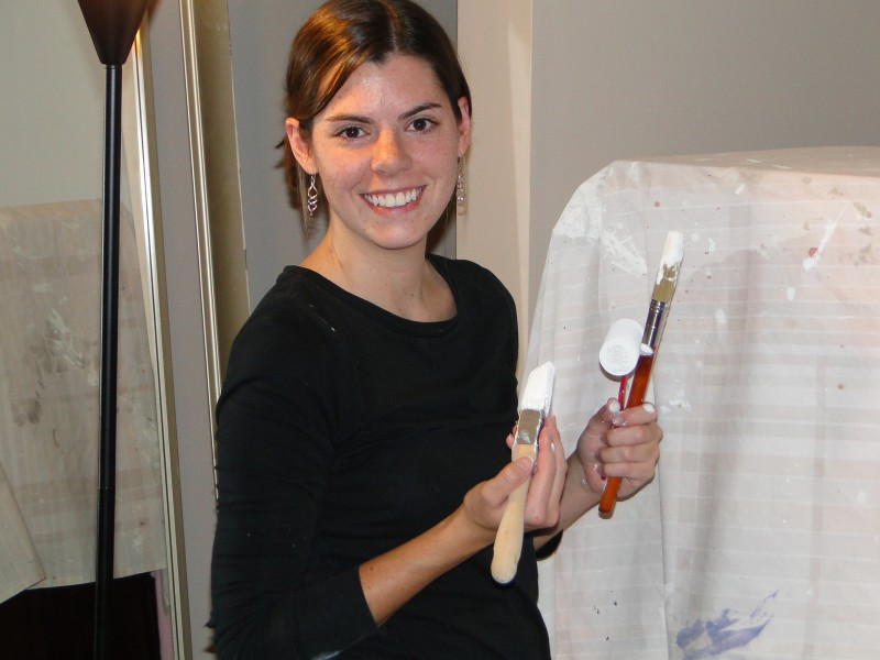 Michelle painting our bedroom; we love putting our stamp on our home, and have been renovating it for the past 5 years.