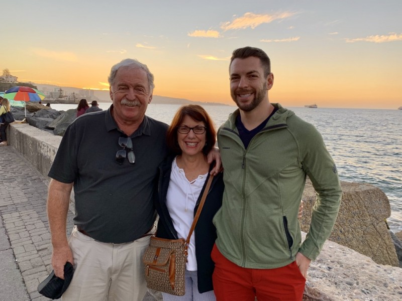 Dave with his parents near his father's hometown in Chile