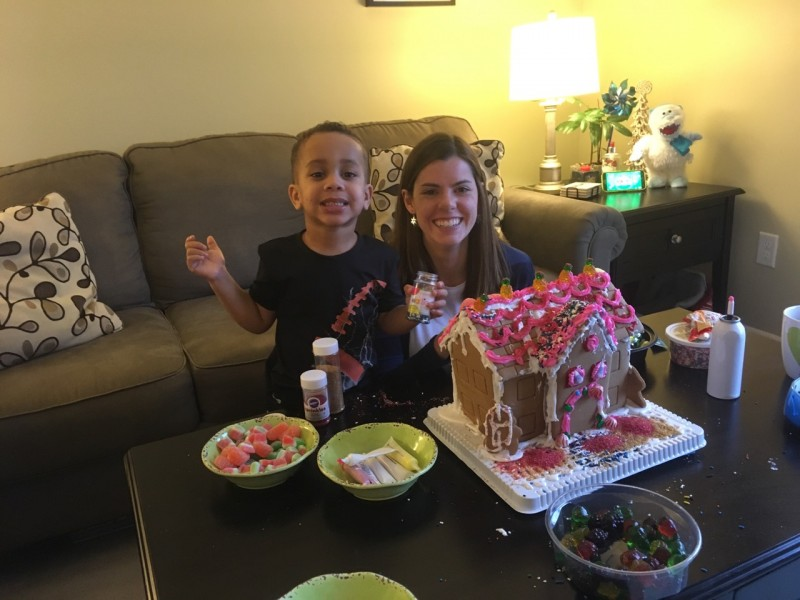 Making our gingerbread house together