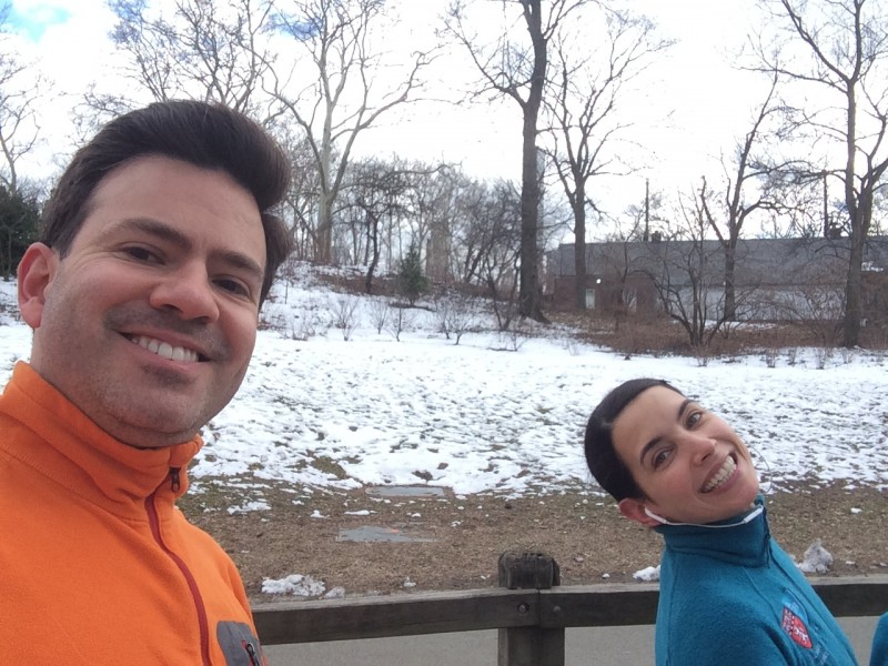 Jogging on a wintry day