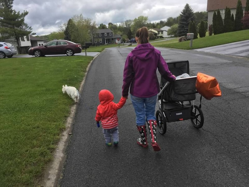 We live in a quiet, safe, residential neighborhood where we can walk to a park & play. (Even when a bit cloudy out)