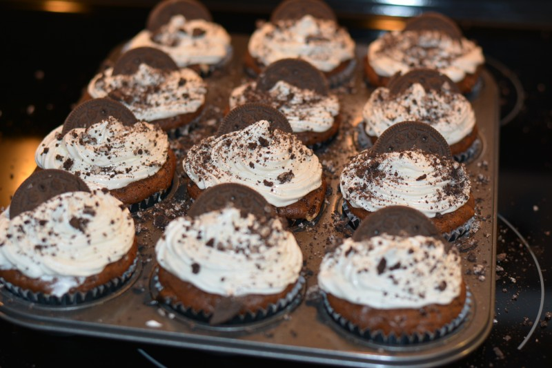 Made oreo chocolate cupcakes for Brent's work