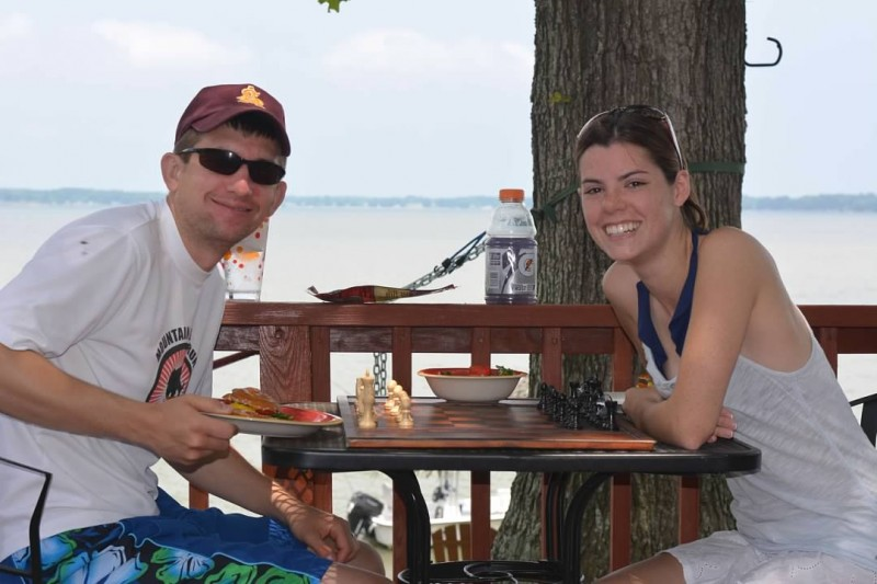 Enjoying chess & sandwiches outside during a trip to the Chesapeake Bay over the summer