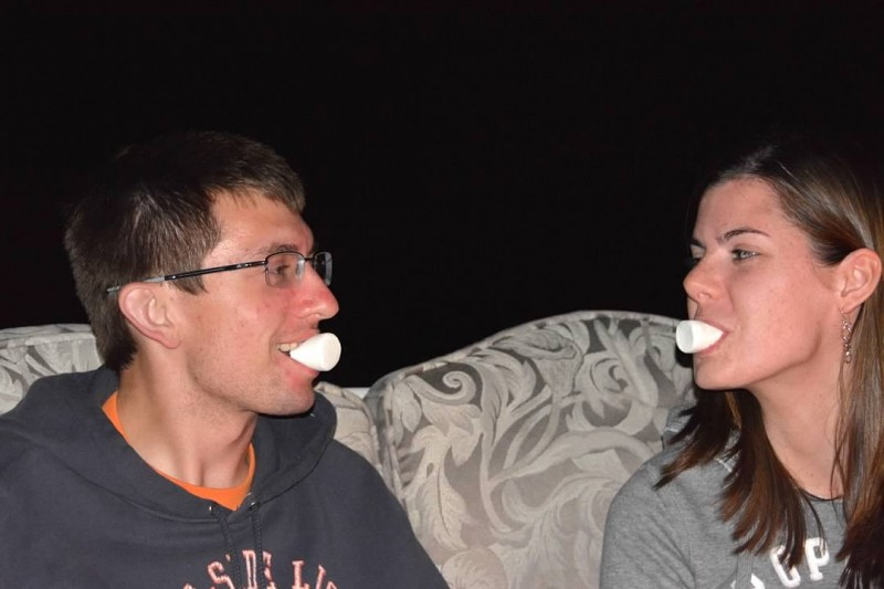 Being silly during a bonfire stuffing marshmallows in our mouth