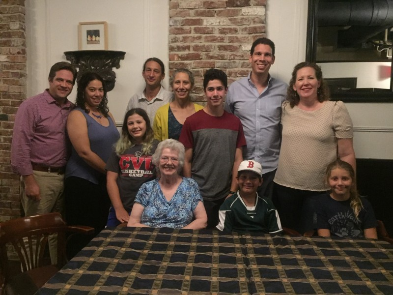 Family dinner on a trip to New England