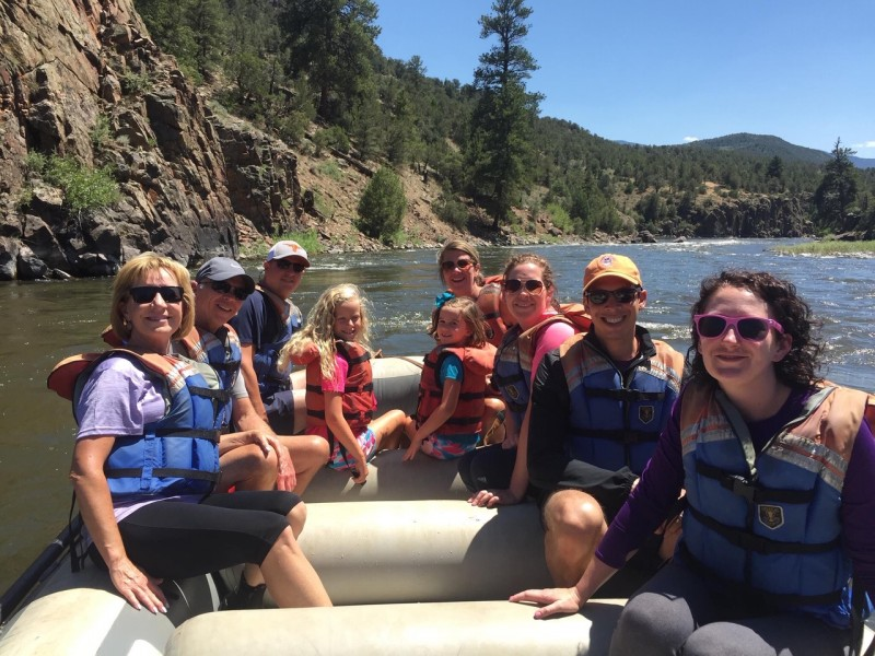 Rafting with Rachel's family in CO