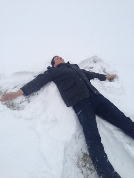 """""""This is how you make a Snow-angel"""" - Alex"""