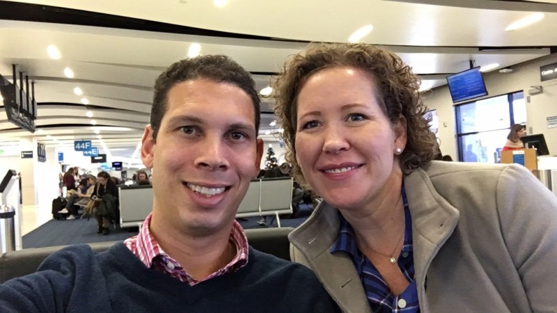 Waiting for our flight to go see some family.