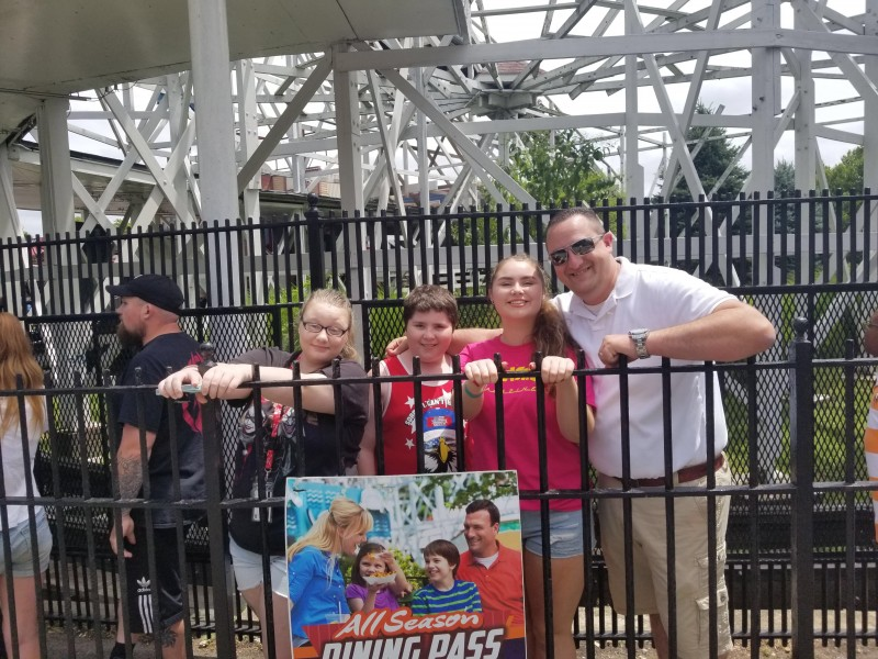 At the amusement park with our godkids and sister