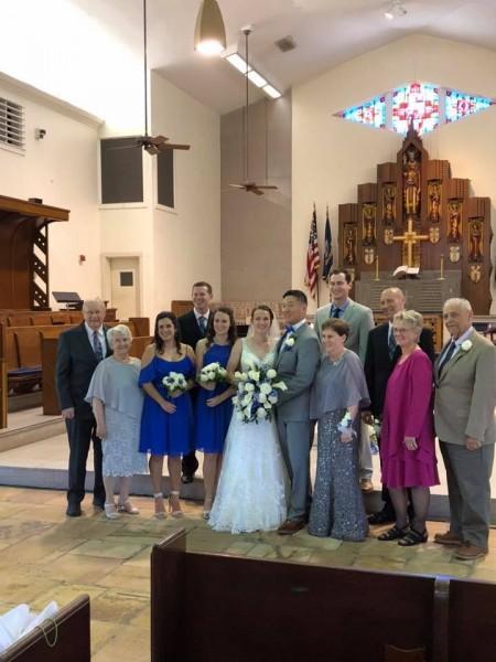 Laura wedding fam at church