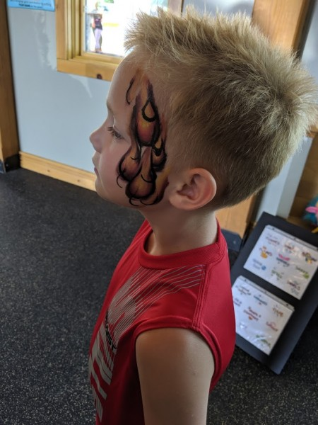 Facepainting at cousins birthday party