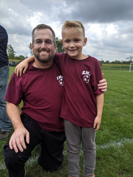 Coach Daddy and Alex after first soccer game!