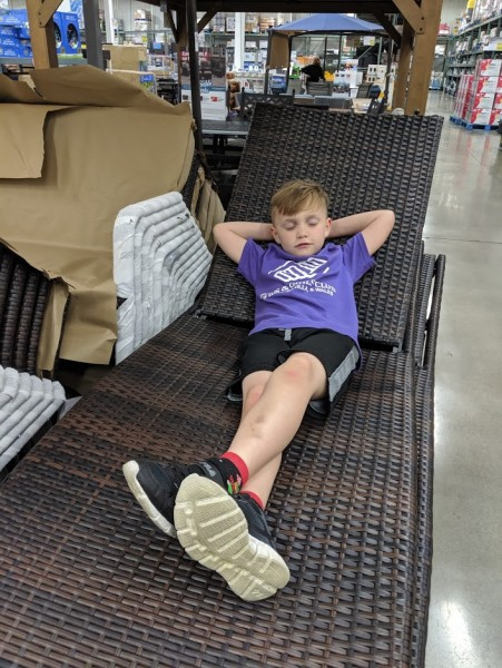 It is tough going shopping with mommy!