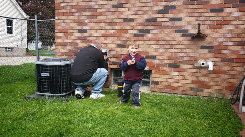Helping grampa fix our air conditioner