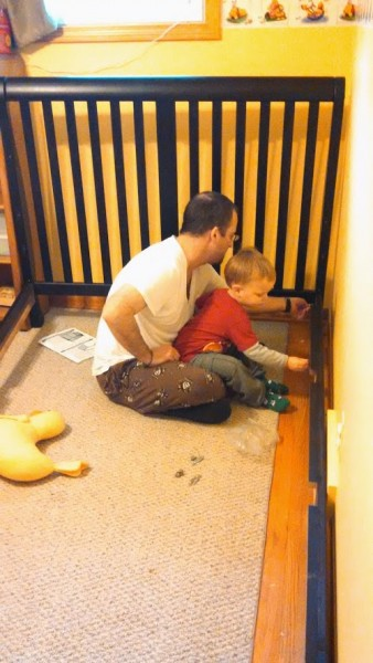 Helping put together big boy bed!