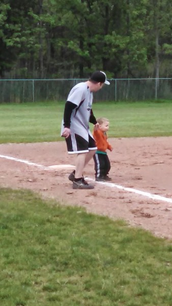 Running the bases with daddy!