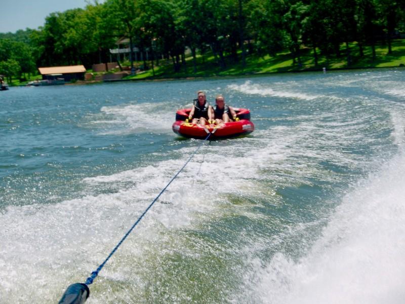 Inner tubing on the lake.