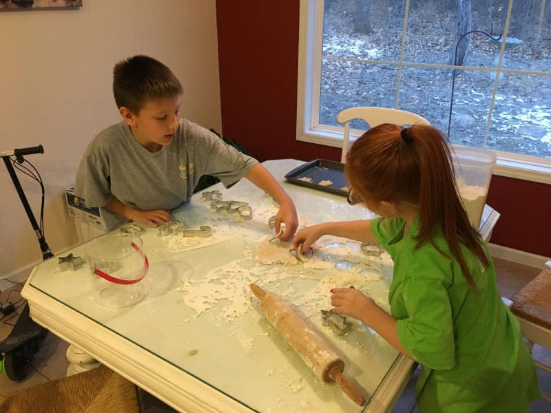 The Christmas tradition continues! Making sugar cookies with my nephew and niece.